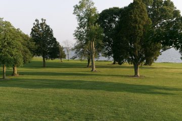 View out over the lawns to the water - lots of space to play.